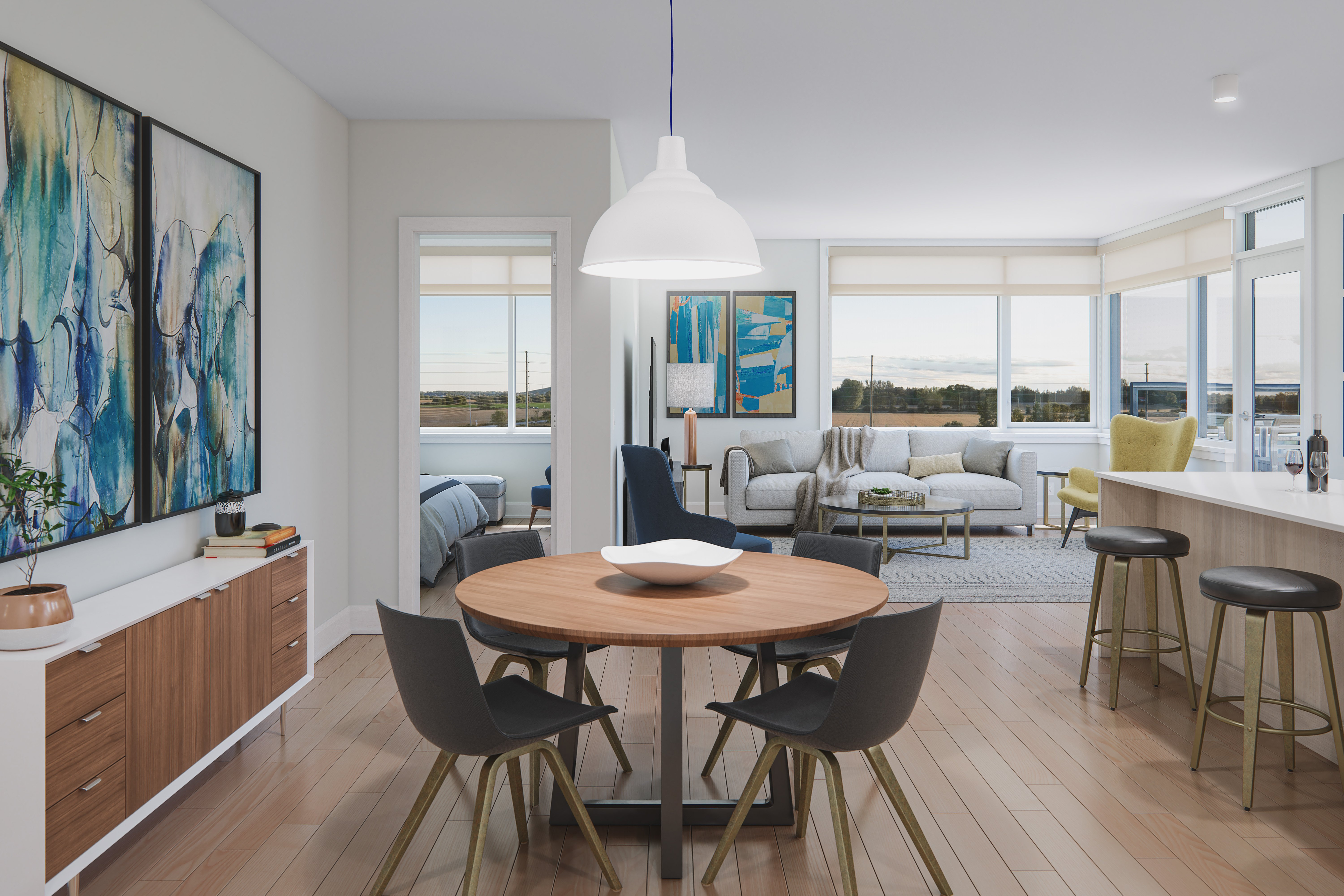 Dining area rendering in virtual tour
